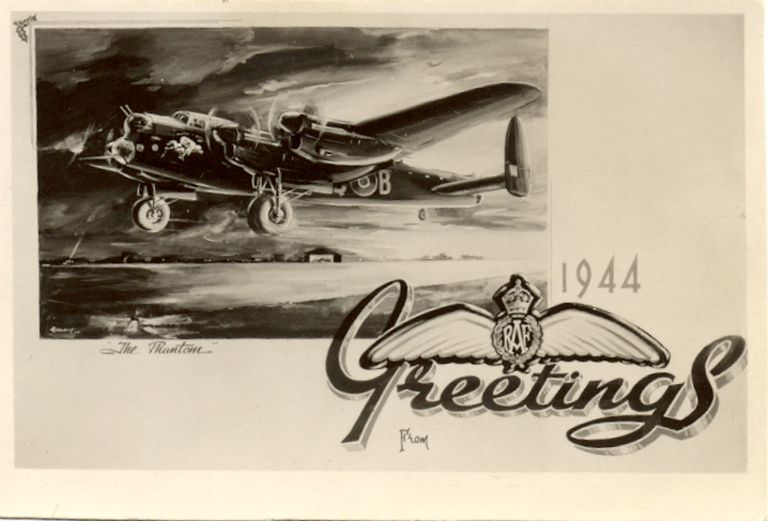 550 Sqdn Christmas card 1944 showing Phantom of the Ruhr